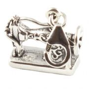 Antique Sewing Machine 3D Sterling Silver Clip On Charm - With Clasp